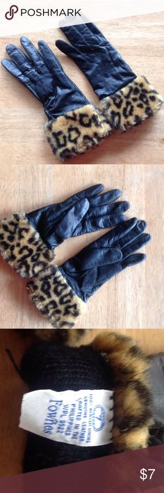 Leather gloves with fake leopard fur trim. Size 7 Only worn a couple of times.  Runs a little small.  Lined. Accessories Gloves & Mittens