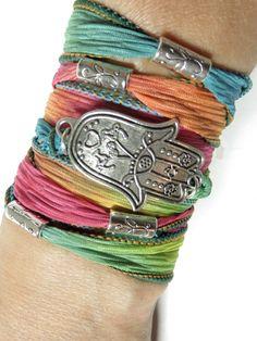 Bohemian Hamsa Silk Wrap Bracelet Yoga Jewelry Hamsa Bracelet Hamsa Jewelry Hamsa Fall Wrist Wrap Ribbon Bracelet Hand Of Fatima For Her 34 Friendship Bracelets That You Will Want To Make ImmediatelyDIY Friendship Bracelets - Ribbon Jewelry, Fabric Jewelry, Jewelry Crafts, Handmade Jewelry, Etsy Jewelry, Silk Wrap Bracelets, Fabric Bracelets, Bohemian Bracelets, Hamsa Jewelry