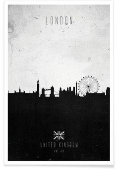 London Contemporary Cityscape als Premium Poster von Calm The Ham | JUNIQE