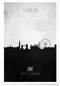 London Contemporary Cityscape als Premium Poster von Calm The Ham | JUNIQE