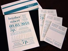 teal and gray letterpress wedding invitation from Chic Ink.