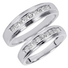 3/8 Carat T.W. Diamond His And Hers Wedding Band Set 10K White Gold