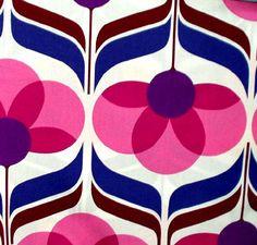 fabric - retro floral pink by JenRedInstead, via Flickr