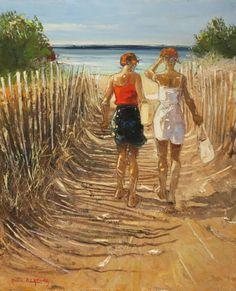 Vers la plage 73x60 cm Huile sur toile