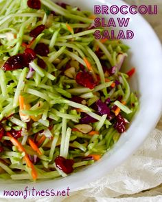 Broccoli slaw | 1/4 cup sliced raw almonds, 1 12-oz package broccoli slaw, 1/2 cup dried cranberries, 3 Tbsp extra-virgin olive oil, 3 Tbsp rice vinegar, 3 Tbsp honey, 3 Tbsp Greek yogurt, 1-1/2 tsp Dijon mustard, 2 packets Stevia, 1/4 tsp sea salt, 1/4 tsp black pepper.
