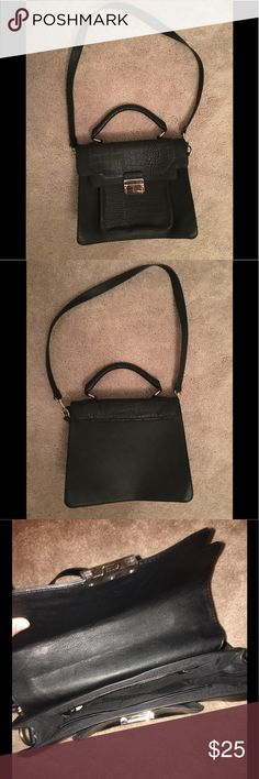 Express black bag Large crossbody black bag with silver detailing and long strap in perfect condition can fit MacBook Air 13 Express Bags Crossbody Bags