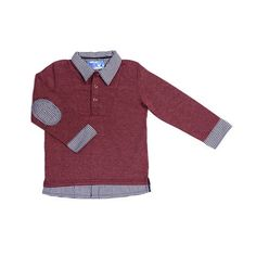 Stunningly handsome contrast of cotton-poly blended maroon fabric with faux-layered gingham trim and elbow patches. Great for dress up or dress down.