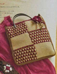 Crochet+y+dos+agujas:+Bolso+tejido+con+ganchillo+con+aplique+floral+-+co...