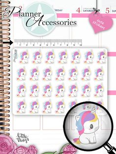 Kawaii Unicorn Stickers Unicorn Planner von EmelysPlannerShop