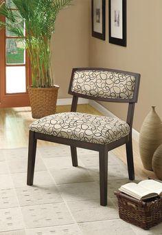 Tan Swirl Fabric/Cappuccino Accent Chair