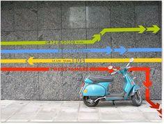 Wayfinding with colorful lines Environmental Graphic Design, Environmental Graphics, Park Signage, Wayfinding Signs, Signage Design, Experiential, Store Design, Planer, Landscape Design