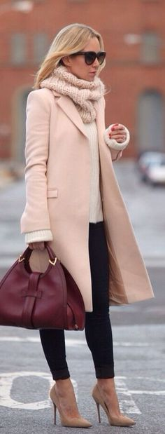 coat sweater hand bag scarf and high heels