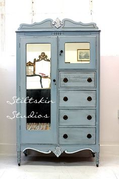 Blue Wooden Furniture: Gorgeous Girl Bedroom Decoration Using Light Blue Wood Dresser Chifferobe With Mirror And Round Black Metal Drawer Knobs