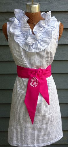 Lola, seersucker dress, with a flirty neckline ruffle. $58.00, via Etsy.