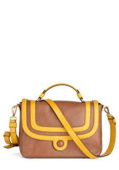 Orla Kiely Caramel Mocha Bag by Orla Kiely - Tan / Cream, Gold, Color Block, Work, Casual, Luxe, Colorblocking