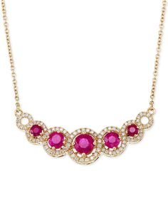 Rare Featuring Gemfields Certified Ruby (1-5/8 ct. t.w.) and Diamond (3/8 ct. t.w.) Fancy Statement Necklace in 14k Gold, Only at Macy's