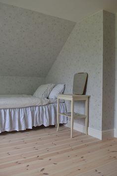 Bedroom with Scandinavian minimalistic decor Nursery Inspiration, Interior Inspiration, Inspirational Wallpapers, Attic Rooms, Blue Walls, Minimalist Decor, Bauhaus, Wall Murals, Design Projects