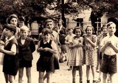 Theresienstadt, Czechoslovakia, Children donning the Jewish Badge.