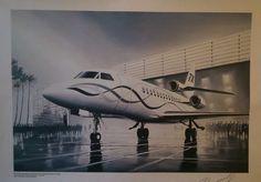 DASSAULT Aviation FALCON 7X  Lucio Perinotto Lithographie originale signé