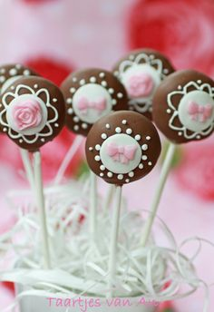 Dainty Pink Bow Chocolate Cake Pops
