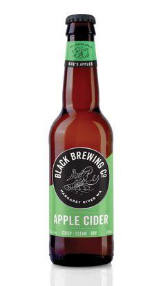 Black Brewing Co. Apple Cider packaging, branding and illustration by Squad Ink. Bottle Packaging, Bottle Labels, Beer Bottle, Brewing Co, Home Brewing, Apple Acid, Cider House Rules, Beverages, Drinks