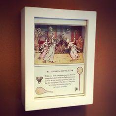 """Battledore & Shuttlecock"" from the Keeping Up With The Victorians Collection {Whimsical Worlds} by Maryann Wohlwend #LiteraryArt #AlteredBook #shadowbox #art #glitter #EmergingArtist"