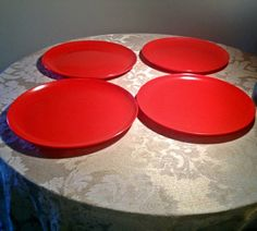 Vintage Red Melmac Dinner Plates by vintagepoetic on Etsy