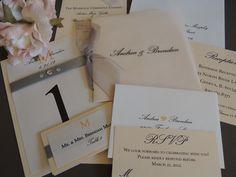 Coral Vellum Wedding Invitation