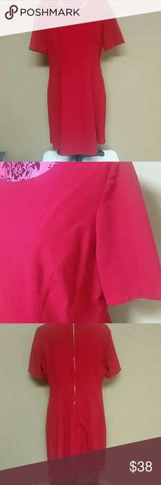 Tahari red dress Red dress by Tahari Arthur S. Levine. Gold zipper down back. Lined. Good condition. Size 16 Tahari Dresses Midi