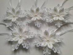 Dekorácie - Sada snehových vločiek na stromček - biele - 6094332_
