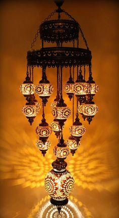 Chocolate And Amber Star Turkish Mosaıc Chandelier 19 Globe Large Moroccan Lighting, Moroccan Lamp, Chandeliers, Chandelier Lighting, Turkish Lamps, Tiffany Lamps, Mosaic Designs, Beautiful Lights, Hanging Lights