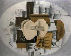"""Guitar """"Program statue d'epouvante"""" - Georges Braque, 1913"""