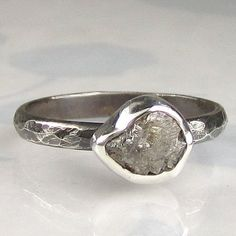 Natural Rough Uncut Diamond Engagement Ring