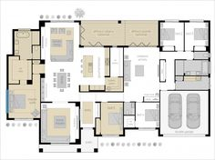 Floor plan - Turn side on for the block and kitchen, living areas. New House Plans, Dream House Plans, House Floor Plans, Bedroom Layouts, House Layouts, Home Design Plans, Plan Design, Mcdonald Jones Homes, House Ideas