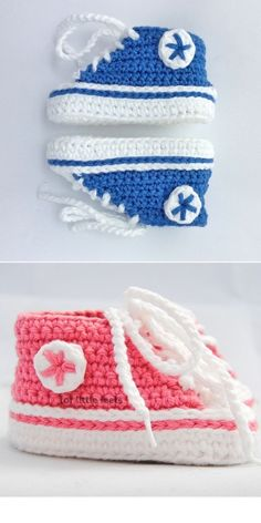 Crochet Booties Pattern, Baby Booties Free Pattern, Newborn Crochet Patterns, Crochet Baby Boots, Knit Baby Booties, Crochet Baby Clothes, Newborn Crochet Hats, Baby Converse, Crochet Converse