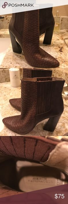 BCBGMAXAZRIA Runway Ankle Boots These gorgeous boots are slightly used, but in good condition. Purchased at Neiman Marcus, tag still affixed to boot. Additional pictures will be uploaded in a separate listing. BCBGMaxAzria Shoes Ankle Boots & Booties