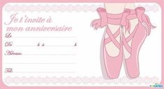 invitation anniversaire de couleur rose représentant des pieds portant des chaussons en position pointes