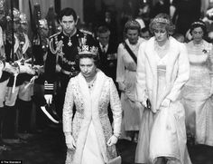 'Continuity in a time of immense change': The Queen, Charles and Diana, Princess of Wales, at the State Opening of Parliament in 1982, a ritual the monarch has performed on 59 occasions