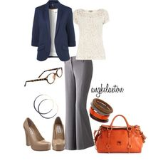 Business casual/professional work outfit: navy blazer, cream top, grey slacks.