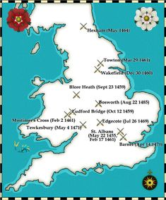 battles which were fought during The Wars of The Roses~ The First Battle of St Albans Battle of Northampton The Battle of Wakefield Battle of Barnet Battle of Tewkesbury Battle of Bosworth Field History Of England, Uk History, History Page, History Timeline, Tudor History, European History, British History, History Facts, World History