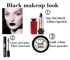 """""""Black makeup look!"""" by andrealola ❤ liked on Polyvore featuring Anna Sui and LORAC"""
