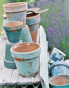 Terra Cotta Flower Pots --  Take your old terra cotta flower pots ~ paint wash…