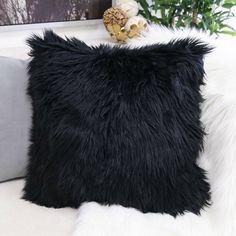 Black Throw Pillows, Cute Pillows, Fluffy Pillows, Sofa Throw, Black Cushions, Bed Pillows, Couch Pillow Covers, Fur Pillow, Throw Pillow Sets