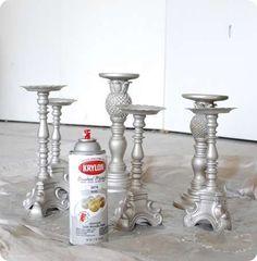 Spray Painted Thrift Store Candlesticks with Krylon's Brushed Metallic in Satin Nickel.