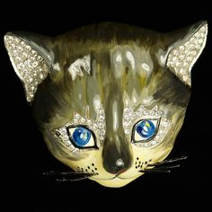 Trifari 'Alfred Philippe' Pave and Enamel Cat's Face with Whiskers Pin Clip
