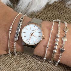 Ku Joyas ║ En esta oportunidad te mostramos estas hermosas pulseras en plata 925, hay con frases, lisas, con dijes y con bolitas. Son ideales para usarlas superpuestas y combinadas. Watches, Accessories, Fashion, Frases, Silver Bracelets, Opportunity, Jewelery, Wrist Watches, Moda
