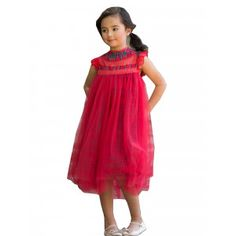 23803a6413cd Little Girls Plaid Red Lace Tulle Smock T-Length Magnolia Christmas Dress  2-6