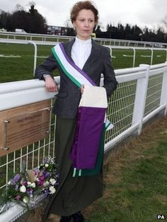 EMILY WILDING DAVISON On 4 June emily wilding davison a suffragette ran across the racecourse at Epsom while the horses were thundering round the track at 35 miles an hour. She collided with the King's horse, Anmer, and died four days later. Deeds Not Words, Suffragette Colours, King Horse, Derby Day, Silver Fabric, Strong Women, Feminine, Female, Elegant