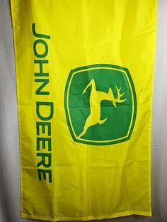 "John Deere Nylon 58 x 34"" Outdoor Flag w/ Grommets Farm Decor Yellow Green"