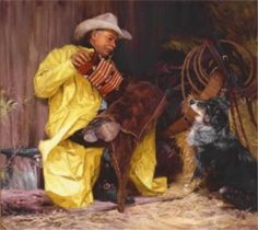 Beethovens Fifth by Bruce Greene is a signed numbered limited edition giclee on canvas published from a Bruce Greene original cowboy painting of a cowboy and his blue healer cow dog. Texas Art Depot is the Bruce Greene cowboy art gallery in East Texas American Indian Art, Native American Art, Bev Doolittle, Western Photo, Cowboy Art, Canvas Signs, Wildlife Art, Westerns, Art Gallery